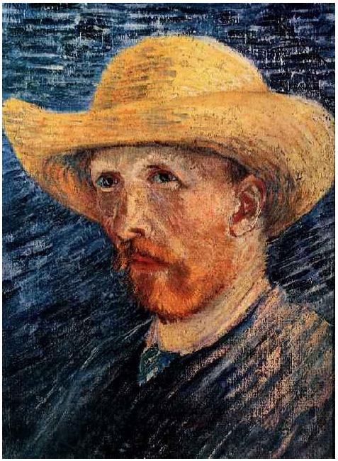 Self Portrait With Straw Hat Vincent Van Gogh 2101