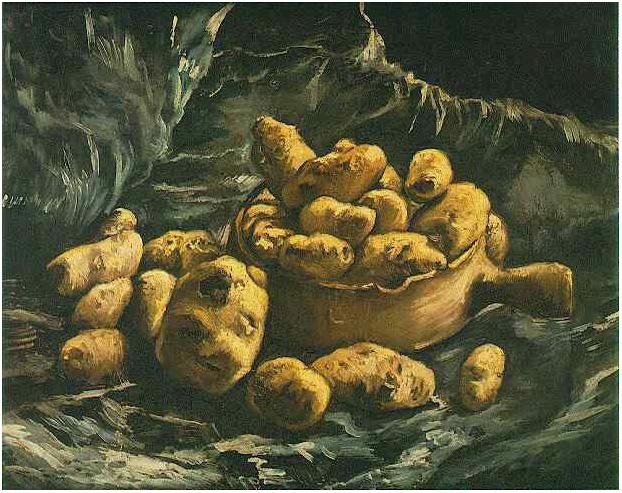 Naturaleza muerta con un cuenco de arcilla y papas de Vincent van ...