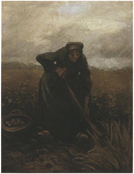 Mujer levantando patatas de Vincent van Gogh   770   Pinturas   Óleo ...