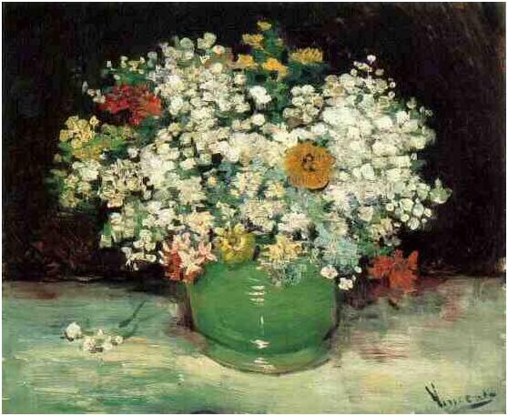 Vincent van Gogh's Florero con zinnias y otras flores Painting
