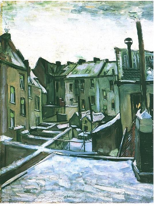 Vincent van Gogh's Los patios traseros de casas antiguas en Antwerp en la nieve Painting