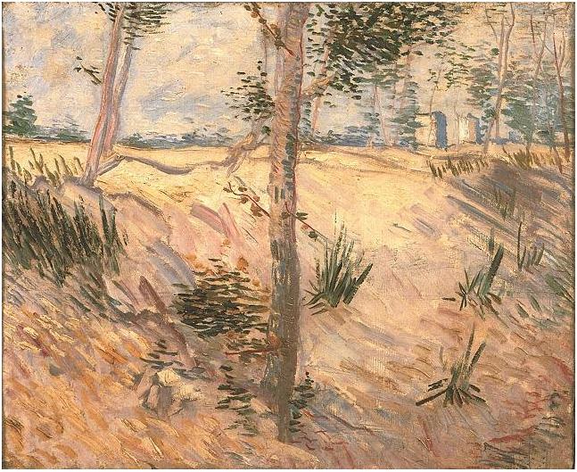 Vincent van Gogh's Árboles en un campo en un día de sol Painting