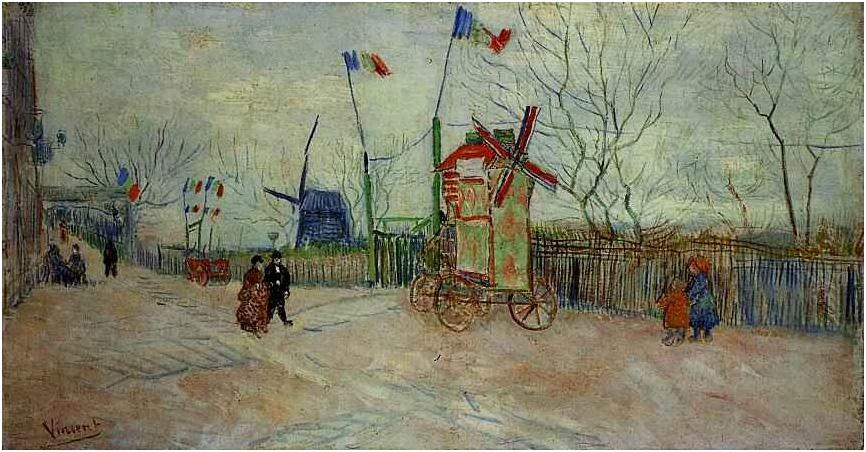 Street Scene in Montmartre Le Moulin a Poivre - Vincent van Gogh