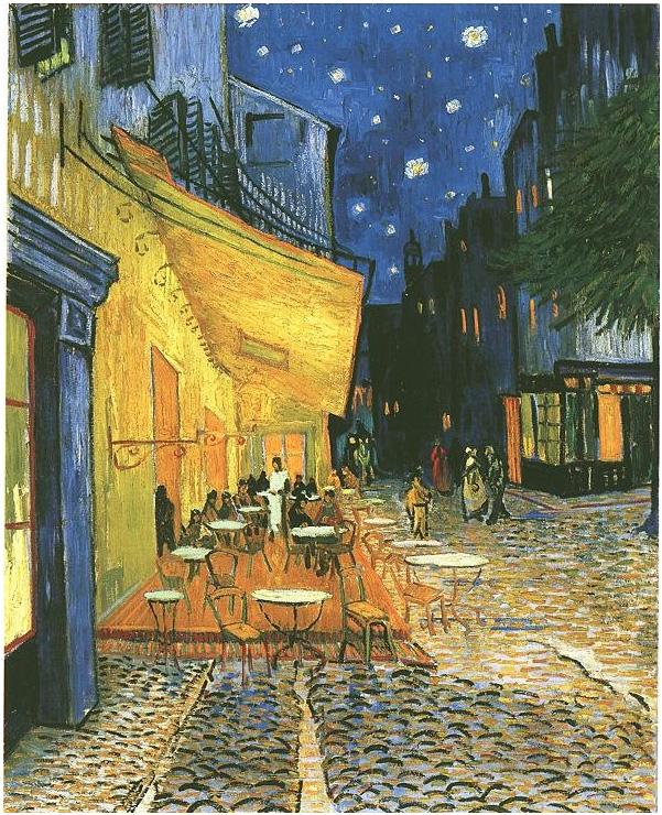 Vincent van Gogh's Café Terrace on the Place du Forum, Arles, at Night, The Painting