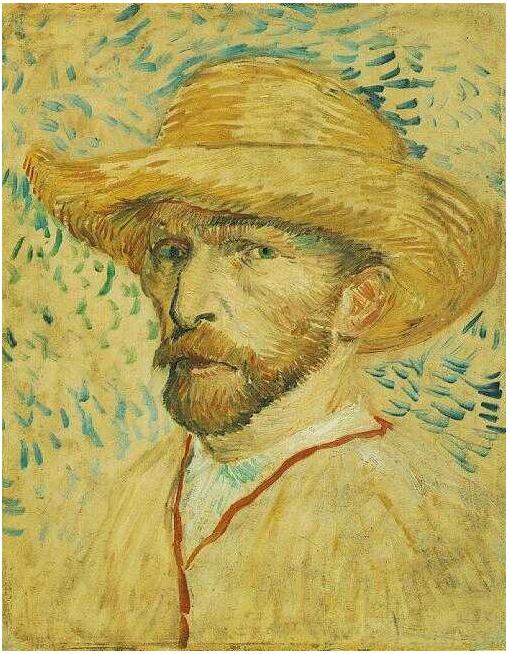 Vincent van Gogh's Autorretrato con sombrero de paja Painting