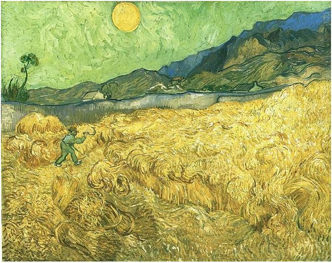 Campos de trigo con cosechador al amanecer de Vincent van Gogh | 757 | Pinturas | Óleo sobre tela