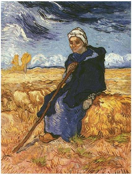 Vincent van Gogh's La pastora (después de Millet) Painting