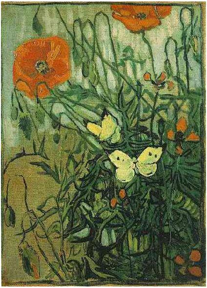 Mariposas y amapolas, de Van Gogh