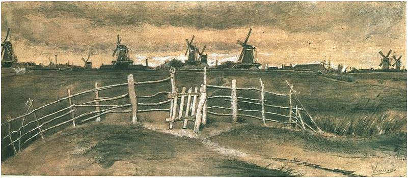 Van Gogh Watercolor Windmills near Dordrecht