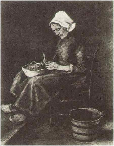 Mujer pelando patatas de Vincent van Gogh | 1920 | Acuarelas | Tiza ...