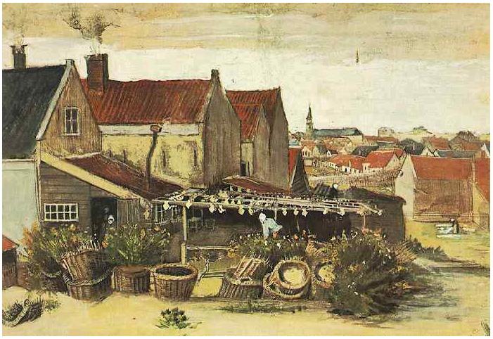 Fish Drying Barn By Vincent Van Gogh 1818 Watercolor