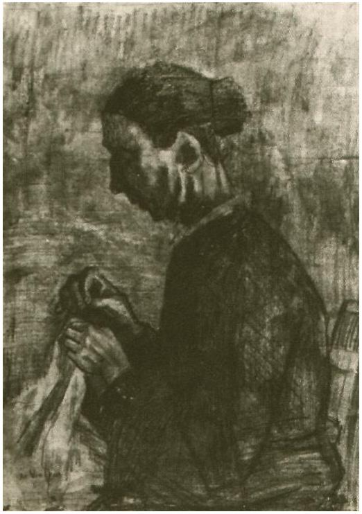 Van Gogh Drawing Sien, Sewing, Half-Figure