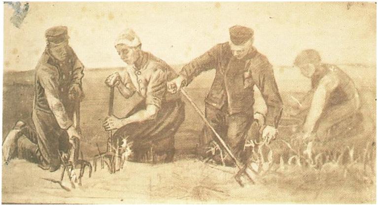 Trabajadores de patatas cuatro figuras de vincent van gogh 1403 dibujos - Van gogh comedores de patatas ...