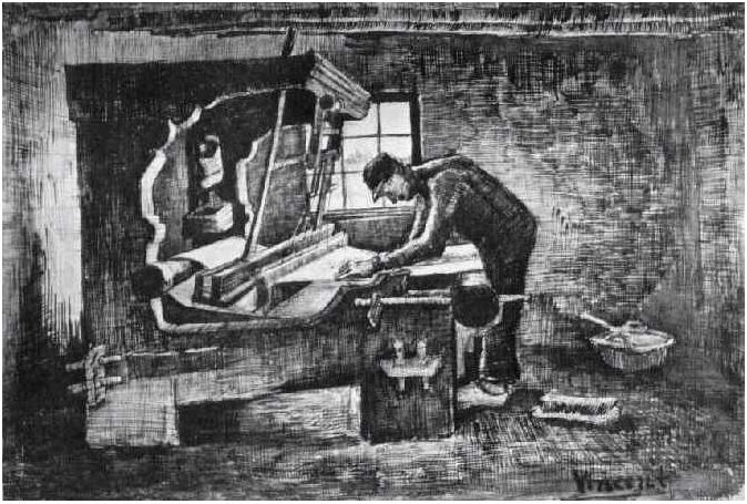 Tejedor De Pie Delante De Un Telar De Vincent Van Gogh 1709 Dibujos Pluma Lápiz Intensificado Con Blanco