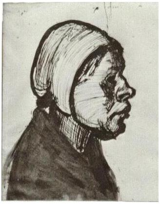Mujer campesina, Cabeza de Vincent van Gogh : 1308 : Dibujos : Pluma ...