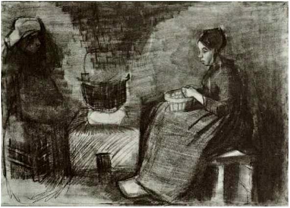 La mujer, sentada junto al fuego, pelando patatas; Bosquejo de una ...