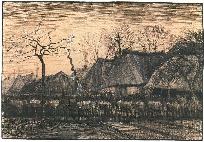 Casas con techos de paja de vincent van gogh 1064 dibujos l piz pluma y tinta - Casas dibujadas a lapiz ...