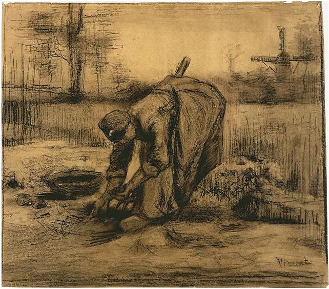 Mujer campesina levantando papas de Vincent van Gogh   1328 ...