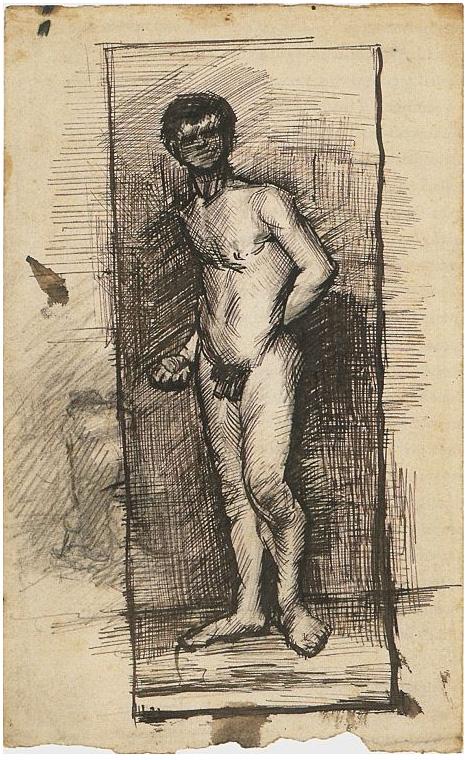 Hombre desnudo bebiendo una margarita