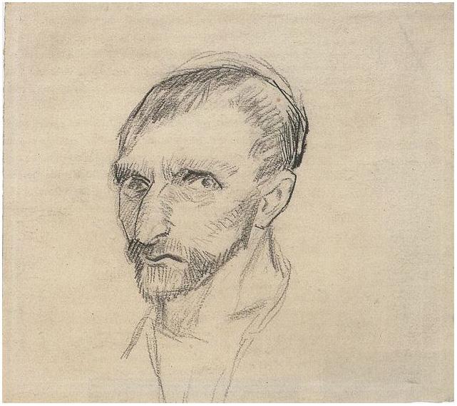 Self Portrait By Vincent Van Gogh 1451 Drawing Pencil border=