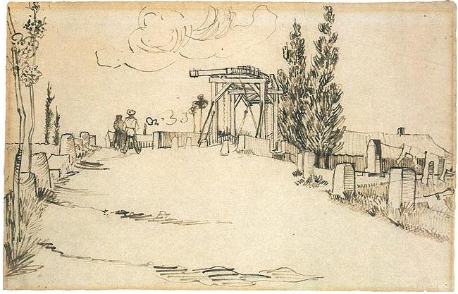 Vincent van Gogh's El puente Langlois de Arles visto desde la carretera Drawing