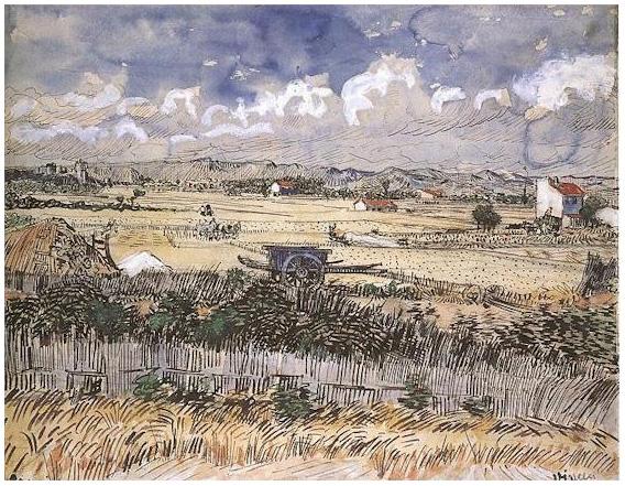 harvest landscape by vincent van gogh 1828 watercolor