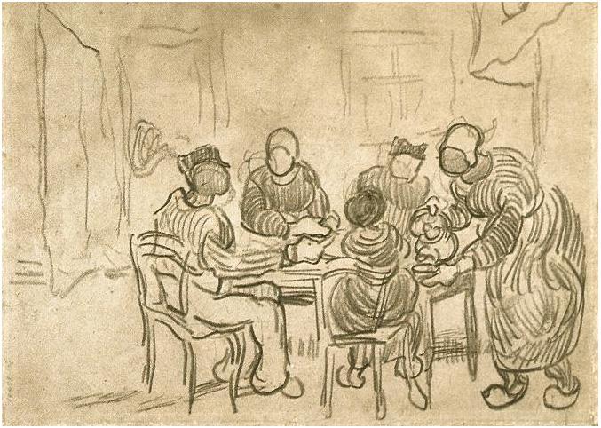 Bosquejo de la pintura Los comedores de papas de Vincent van Gogh ...