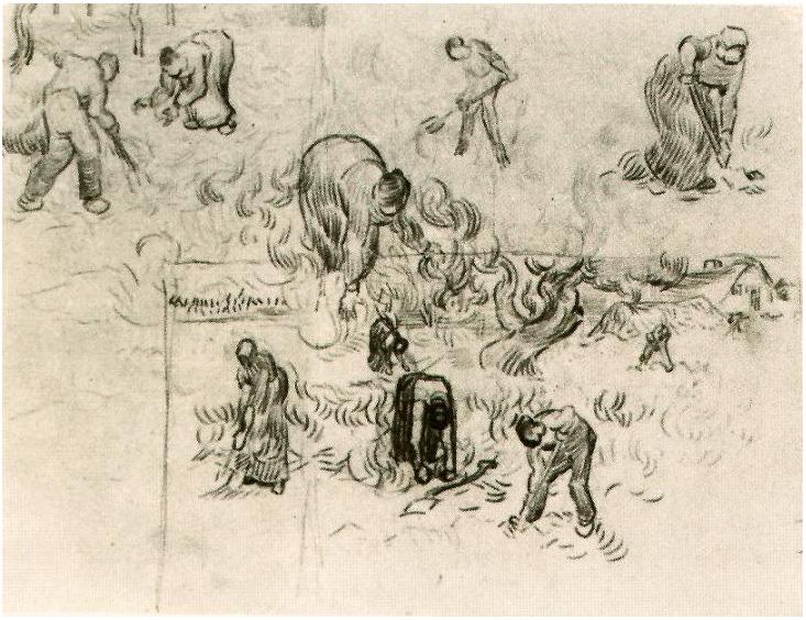 Vincent van Gogh's Hoja con bosquejos de trabajadores Drawing