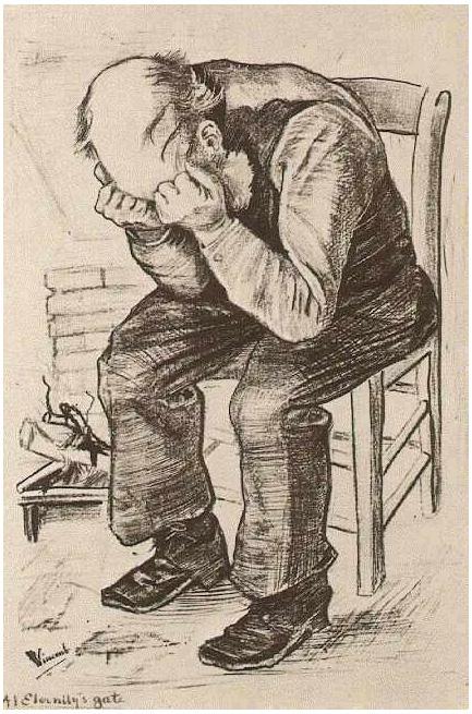 Vincent van Gogh's Viejo con su cabeza en sus manos (a la puerta de eternidad) Graphic