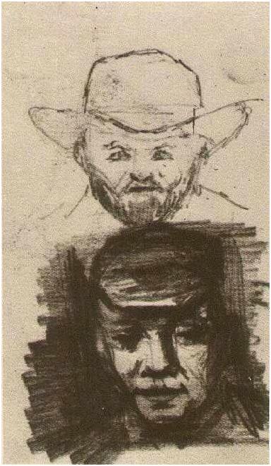 Vincent van Gogh's Dos cabezas: Hombre con barba y sombrero; Campesino con gorra Drawing