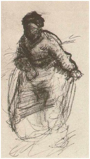 Mujer campesina caminando de Vincent van Gogh  1350  Dibujos