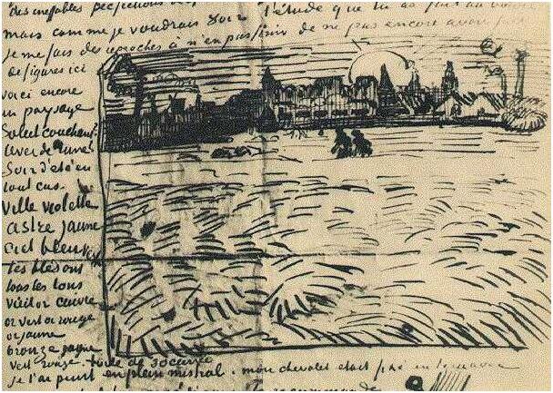 Vincent van Gogh's Campo de trigo con puesta del sol Letter Sketches