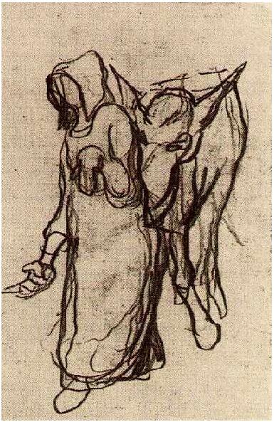 Vincent van Gogh's Mujer con un burro Drawing
