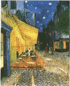 La terraza del café por la la Place du Forum por Vincent van Gogh
